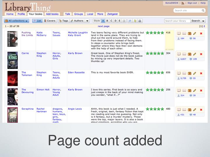 Page count added
