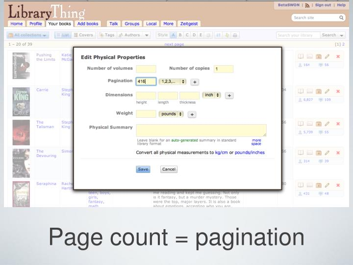 Page count = pagination