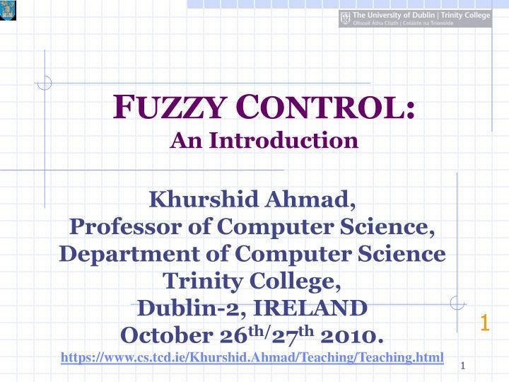 f uzzy c ontrol an introduction n.
