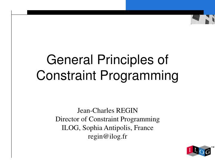 general principles of constraint programming n.