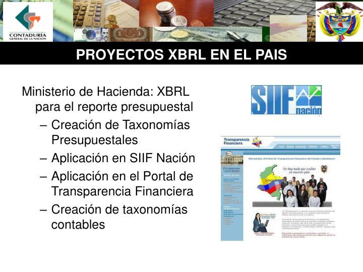 Ministerio de Hacienda: XBRL para el reporte presupuestal