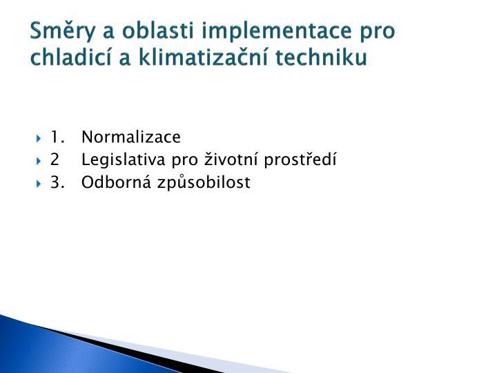 Sm ry a oblasti implementace pro chladic a klimatiza n techniku