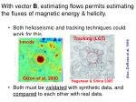 with vector b estimating flows permits estimating the fluxes of magnetic energy helicity