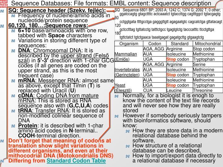 Sequence Databases: File formats: EMBL content: Sequence description