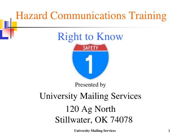 hazard communications training n.