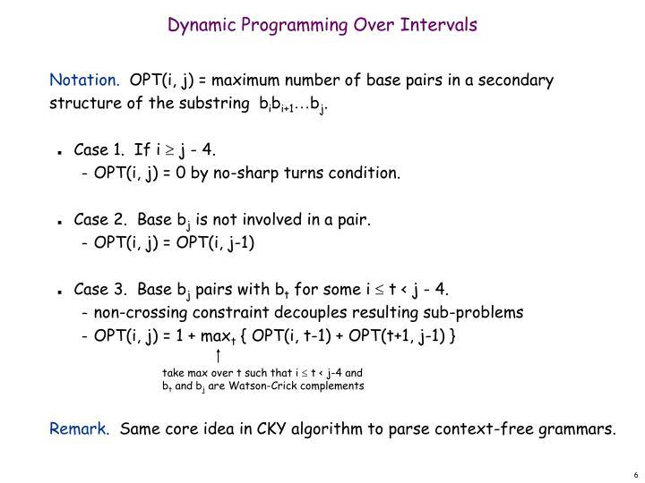 Dynamic Programming Over Intervals