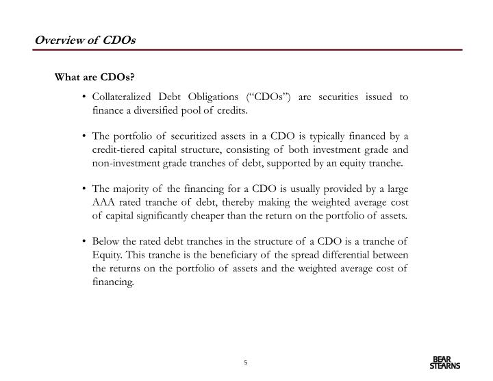 Overview of CDOs