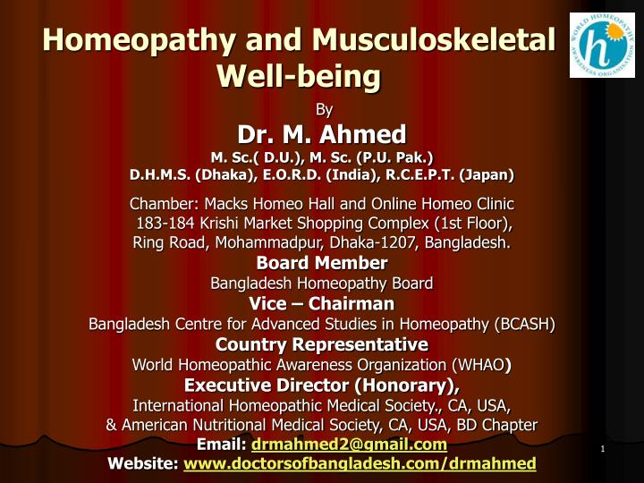 homeopathy and musculoskeletal well being n.