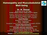 homeopathy and musculoskeletal well being