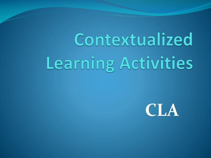 contextualized learning activities n.