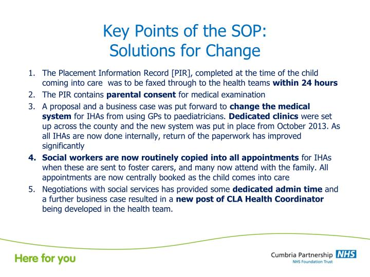Key Points of the SOP: