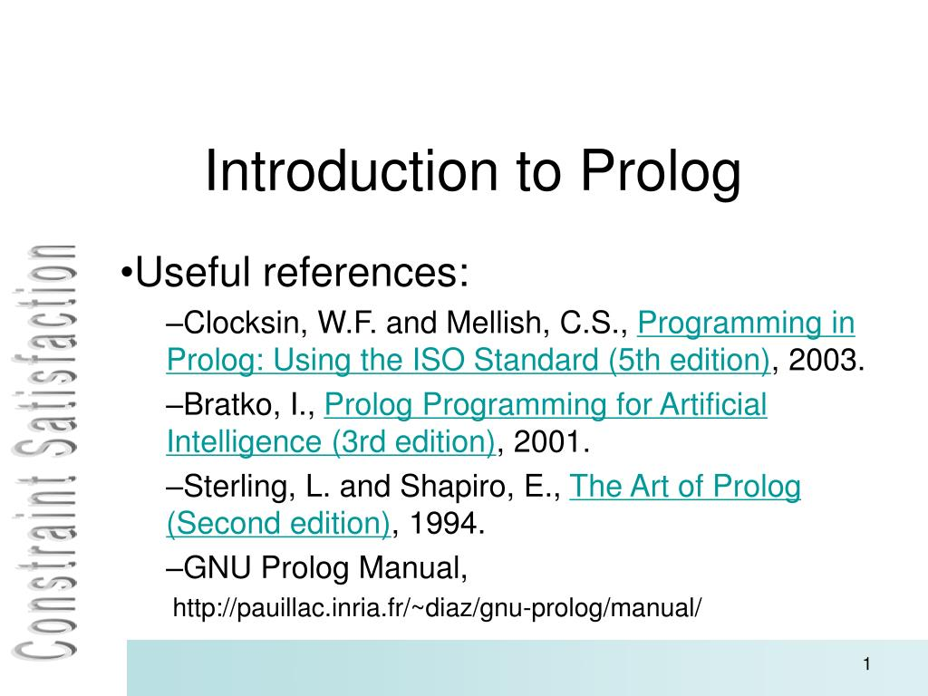 Programming in Prolog Using the ISO Standard