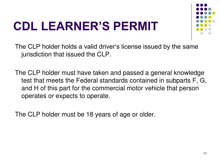 CDL LEARNER'S PERMIT