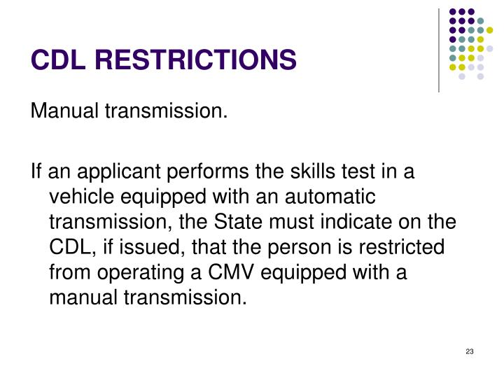 CDL RESTRICTIONS