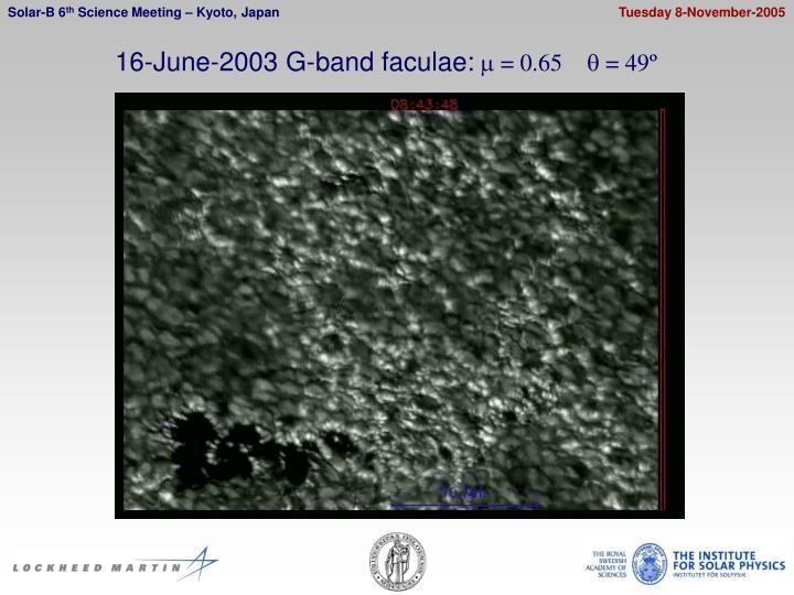 16-June-2003 G-band faculae: