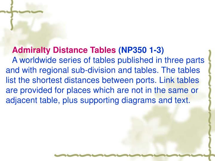 Admiralty Distance Tables