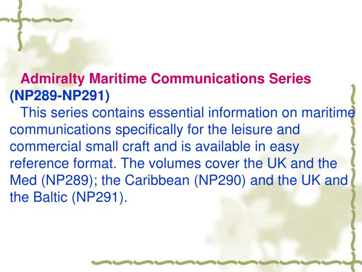 Admiralty Maritime Communications Series