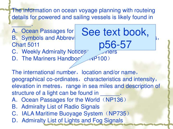 The information on ocean voyage planning with routeing details for powered and sailing vessels is likely found in ______