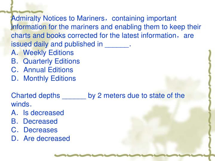 Admiralty Notices to Mariners