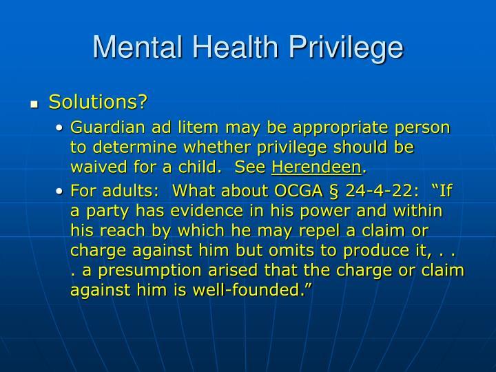 Mental Health Privilege