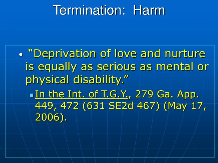 Termination:  Harm