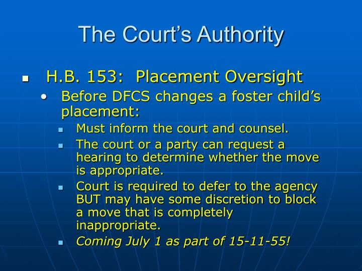 H.B. 153:  Placement Oversight