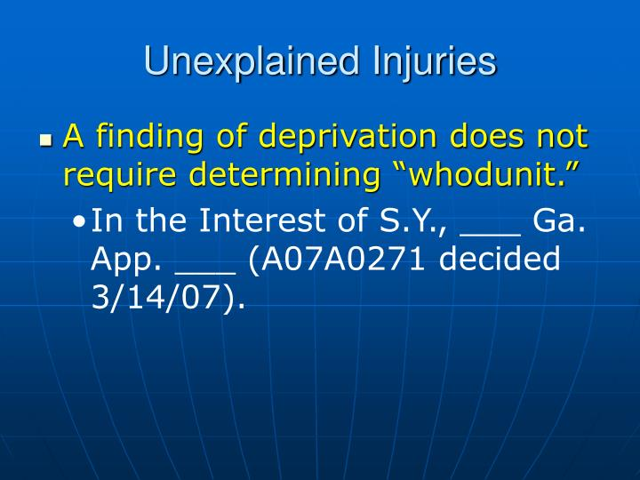 Unexplained Injuries