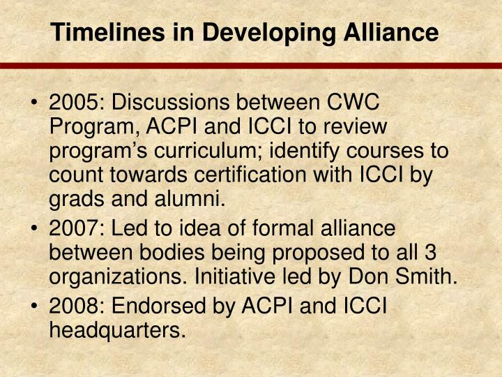 Timelines in Developing Alliance