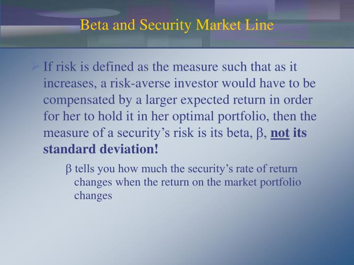 Beta and Security Market Line