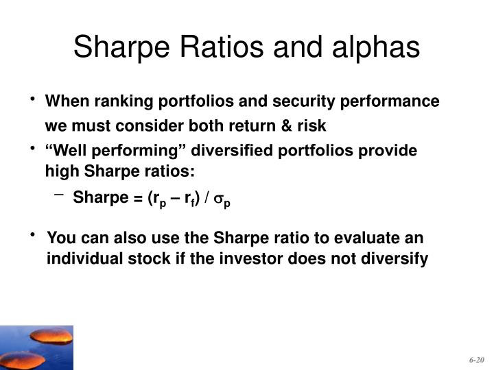 Sharpe Ratios and alphas