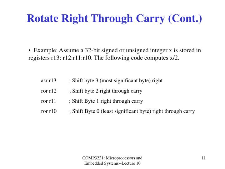 Rotate Right Through Carry (Cont.)
