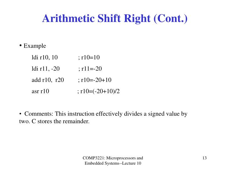 Arithmetic Shift Right (Cont.)