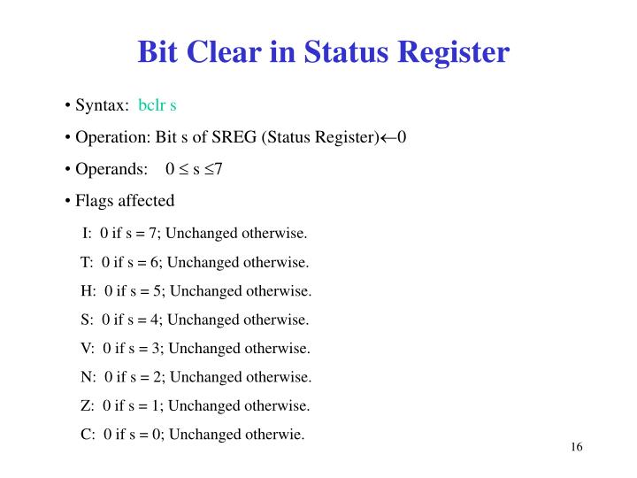 Bit Clear in Status Register