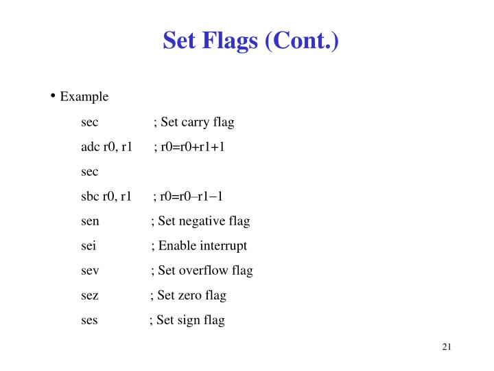 Set Flags (Cont.)