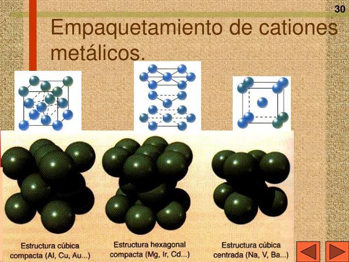 Empaquetamiento de cationes metálicos.