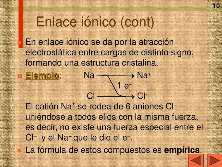 Enlace iónico (cont)