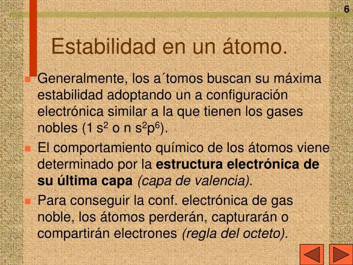 Estabilidad en un átomo.