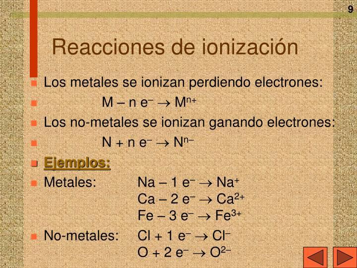 Reacciones de ionización