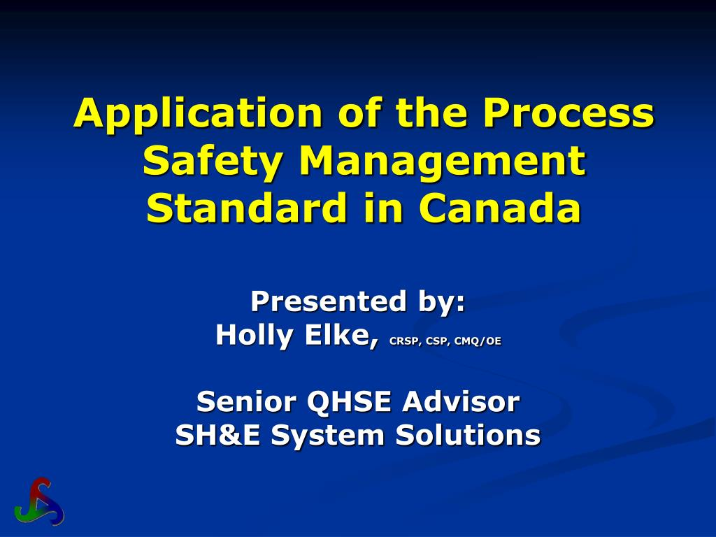 Ppt Application Of The Process Safety Management