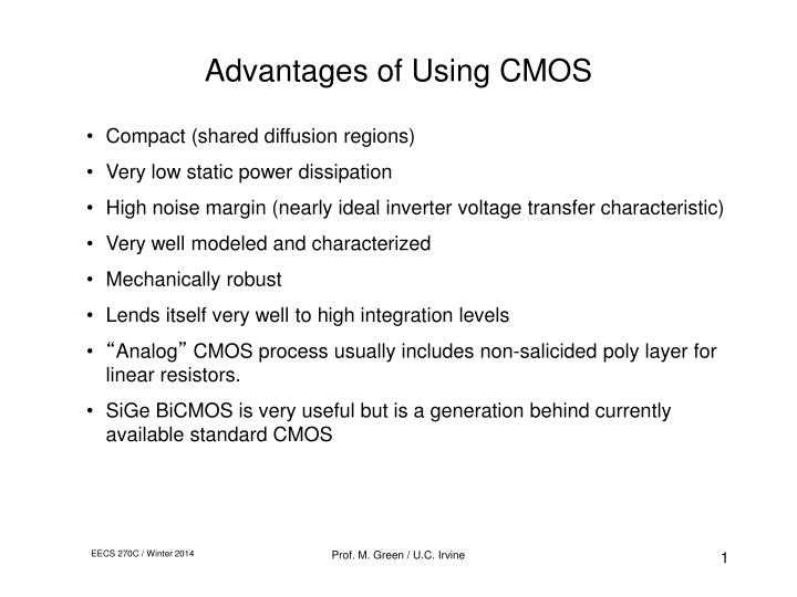 advantages of using cmos n.