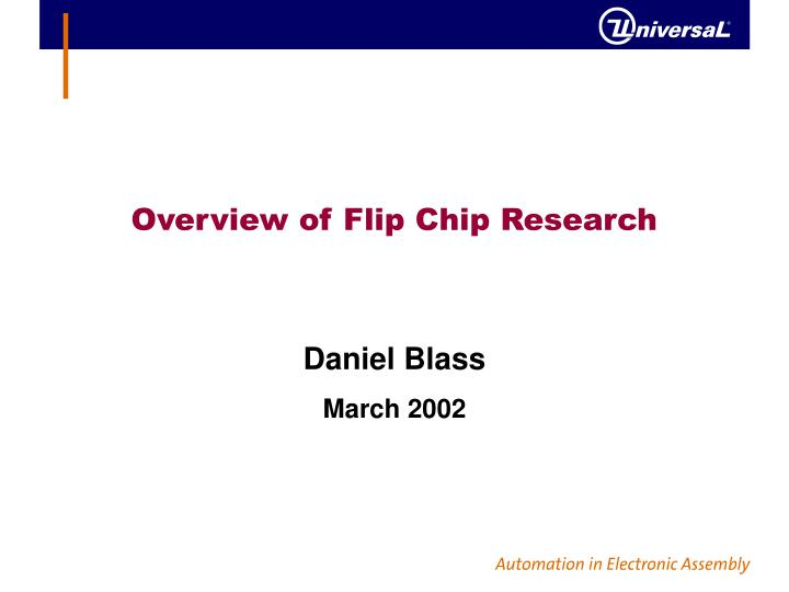 overview of flip chip research n.