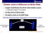 solder joint is different on ni au pads