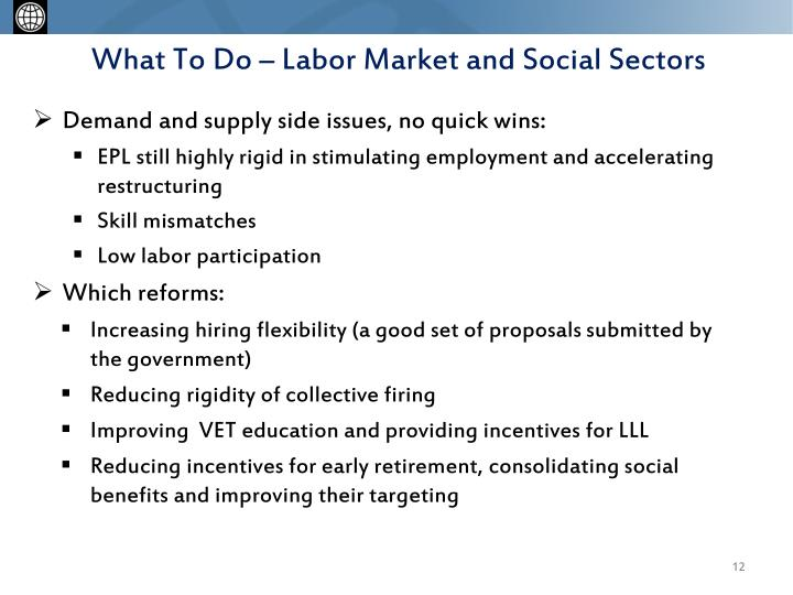 What To Do – Labor Market and Social Sectors