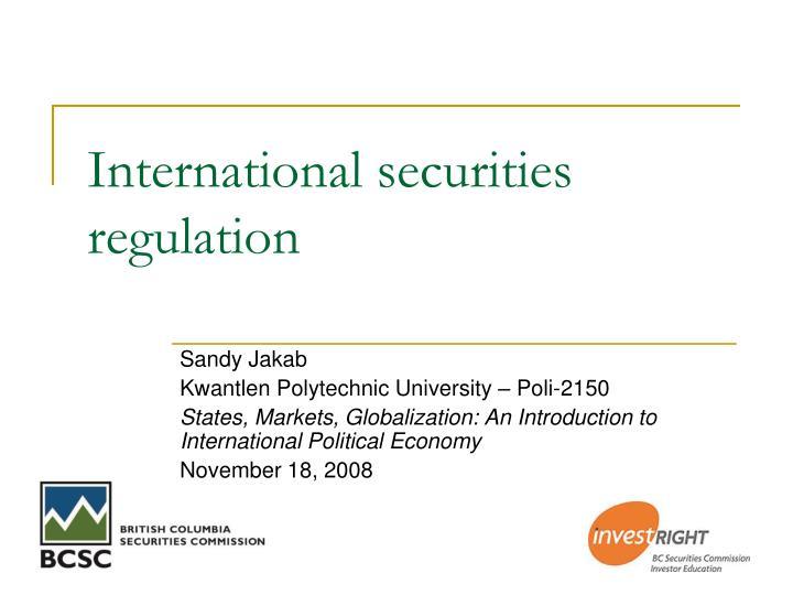 international securities regulation n.