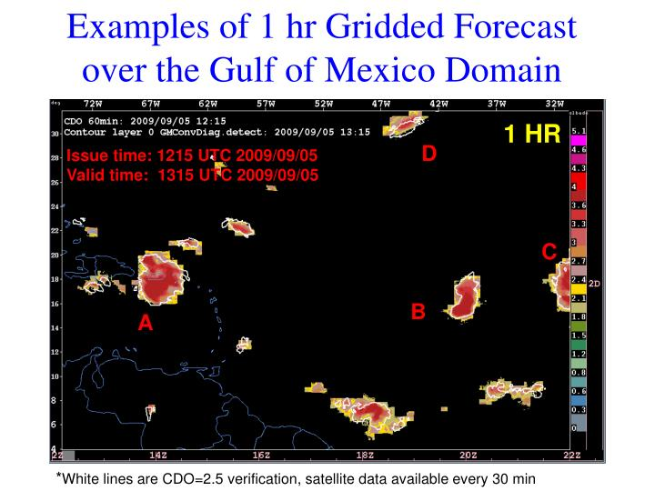 Examples of 1 hr Gridded Forecast over the Gulf of Mexico Domain