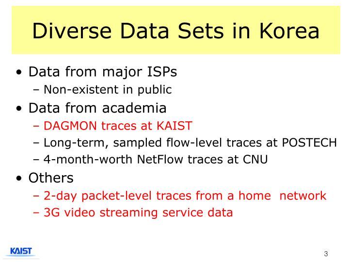 Diverse data sets in korea1