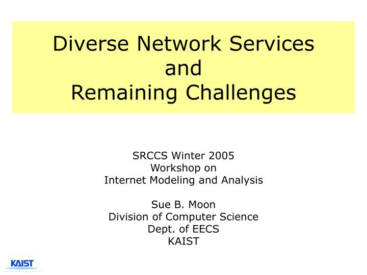 Diverse network services and remaining challenges