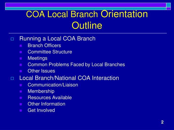 Coa local branch orientation outline
