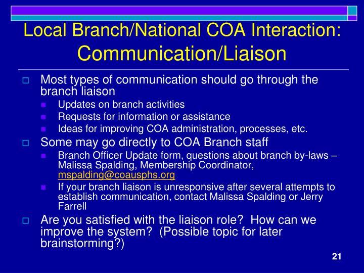 Local Branch/National COA Interaction: