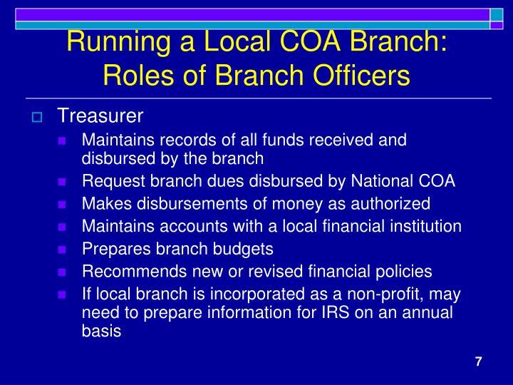 Running a Local COA Branch: